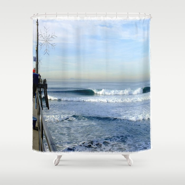 Christmas Swell With Jaggy Edges Shower Curtain