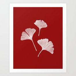 Ginkgo Biloba | Fiery Red Background Art Print