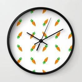 Hand painted green orange watercolor carrots pattern Wall Clock