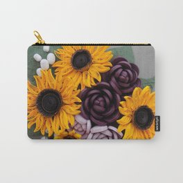 Sunflowers Roses Paper Quilled Flowers Carry-All Pouch