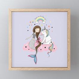 Mermaid & Unicorn Framed Mini Art Print