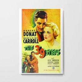 Vintage 39 Steps Movie Poster - Foreign Film Poster Metal Print