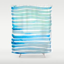 New Year Blue Water Lines Shower Curtain