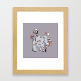 Elephant with Cherry Blossoms Framed Art Print