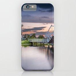 Kinderdijk mill sunset evening wooden bridge Molenlanden Netherlands iPhone Case