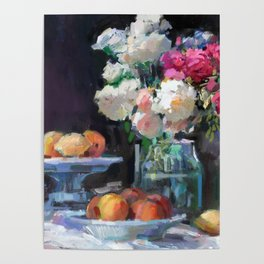 Still Life with White & Pink Roses Poster