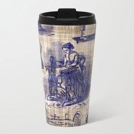 Vintage Sewing Toile Travel Mug