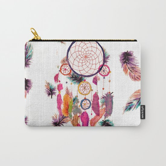 Hipster Watercolor Dreamcatcher Feathers Pattern Carry-All Pouch