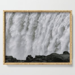 Roaring Dettifoss Waterfall in Iceland - Black and White Landscape Photography Serving Tray