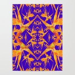 Bird of Paradise Fractal Floral Mandala Poster