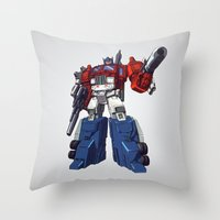 optimus prime Throw Pillows featuring Optimus by CromMorc