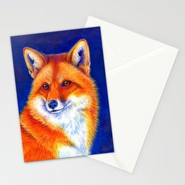 Colorful Red Fox Portrait Stationery Cards