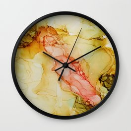 Abstract painting, alcohol ink painting Wall Clock