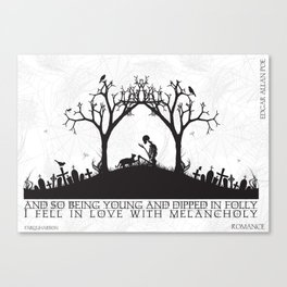 Edgar Allan Poe Black and White Illustrated Quote  Canvas Print