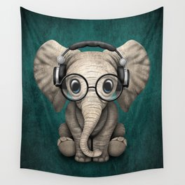 Cute Baby Elephant Dj Wearing Headphones and Glasses on Blue Wall Tapestry