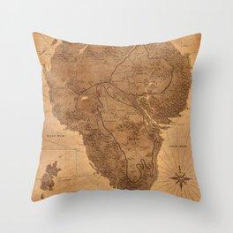 Jurassic Park - Map - Sepia Throw Pillow
