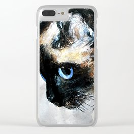 Siamese Cat Acrylic Painting Clear iPhone Case