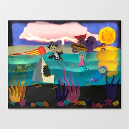Little Pirate Shipwrecked in Mermaid Land Paper Art Canvas Print