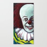pennywise Canvas Prints featuring Pennywise the Clown by Minerva Torres-Guzman