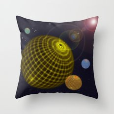 3D Planets Throw Pillow
