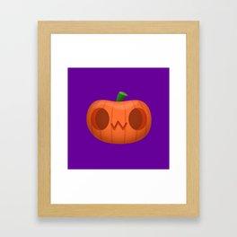 OwO cat emoji funny pumpkin for Halloween Framed Art Print
