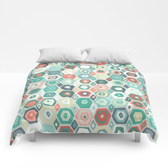 hex diamond coral mint Comforters