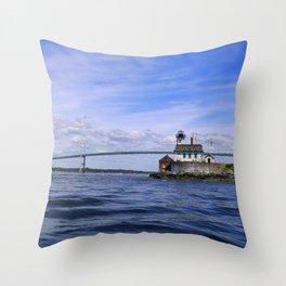 Rose Island and Newport Rode Island Bridge combo Throw Pillow