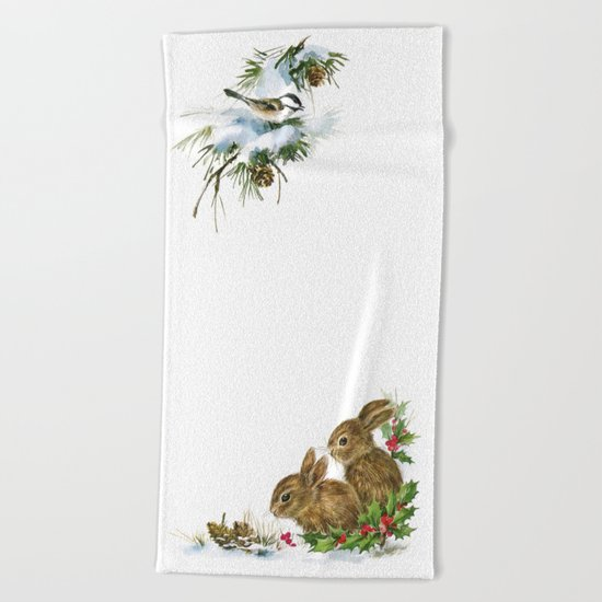 Winter in the forest- Animal Illustration Beach Towel