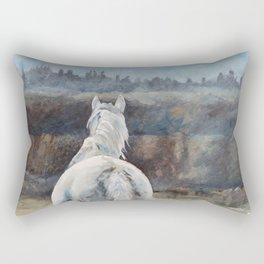 Horse in Morning Mist II Rectangular Pillow