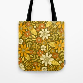 1970s Retro Flowers Pattern in Yellow, Orange & Olive Green Tote Bag
