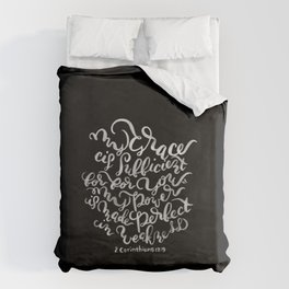 My Grace is Sufficient - 2 Corinthians 12:9 /  White on Black Duvet Cover