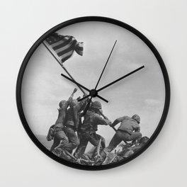 Raising The Flag On Iwo Jima Wall Clock