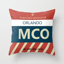 MCO Orlando, FL Airline Baggage Tag Throw Pillow