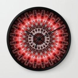 Mandala red Energy Wall Clock