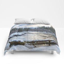 Morning on the McKenzie River Between Snowfalls Comforters