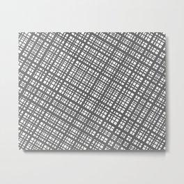 Bauhaus Grid, diagonal Gray & White pattern Metal Print