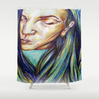 leah flores Shower Curtains featuring Leah by Chloe Gibb