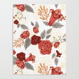 Vintage Coral Floral Bouquet Poster