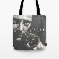 christopher walken Tote Bags featuring Christopher Walken / Cat by Earl of Grey