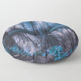 Enchanted Forest Lake Turquoise Teal Gray Floor Pillow