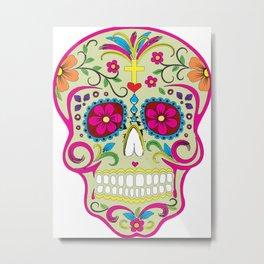 Sugar Skull cream Metal Print