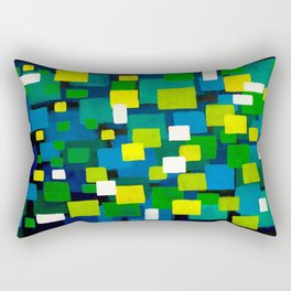 "Original Abstract Acrylic Painting by  ""City Lights"" Colorful Geometric Square Pattern Gre Rectangular Pillow"