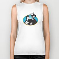 outdoor Biker Tanks featuring cowboy and girl holding aerial outdoor antennae by retrovectors