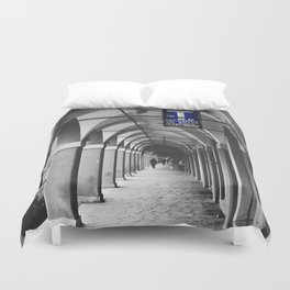 Blue Tabacchi Street Photography in Bologna Duvet Cover