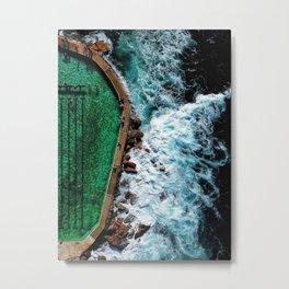 An aerial shot of an ocean rock pool in Bronte beach, Sydney Australia Metal Print
