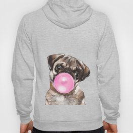 Pug with Pink Bubble Gum Hoody