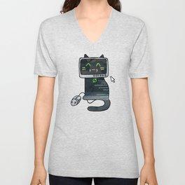 Programmer cat  makes a website Unisex V-Neck