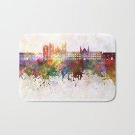 Trondheim skyline in watercolor background Bath Mat