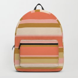 Millennial Pink and Mustard Gold Horizontal Stripes Backpack