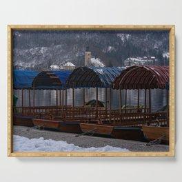 Pletna Boats At Bled Lake Serving Tray